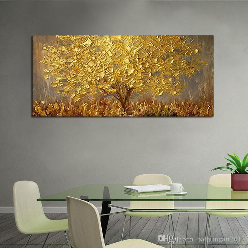 Grande dipinto a mano Coltello Alberi Pittura ad olio su tela Palette Dorato giallo Dipinti Modern Abstract Wall Art Pictures Home Decor Regali