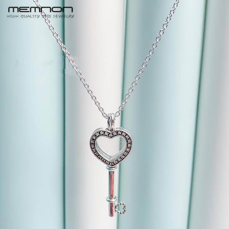 3b8340e15 2019 Floating Locket Heart Key Necklaces For Women With CZ 925 Sterling  Silver Link Chain Silver Pendant Necklace Fine Memnon Jewelry From Bojiban,  ...