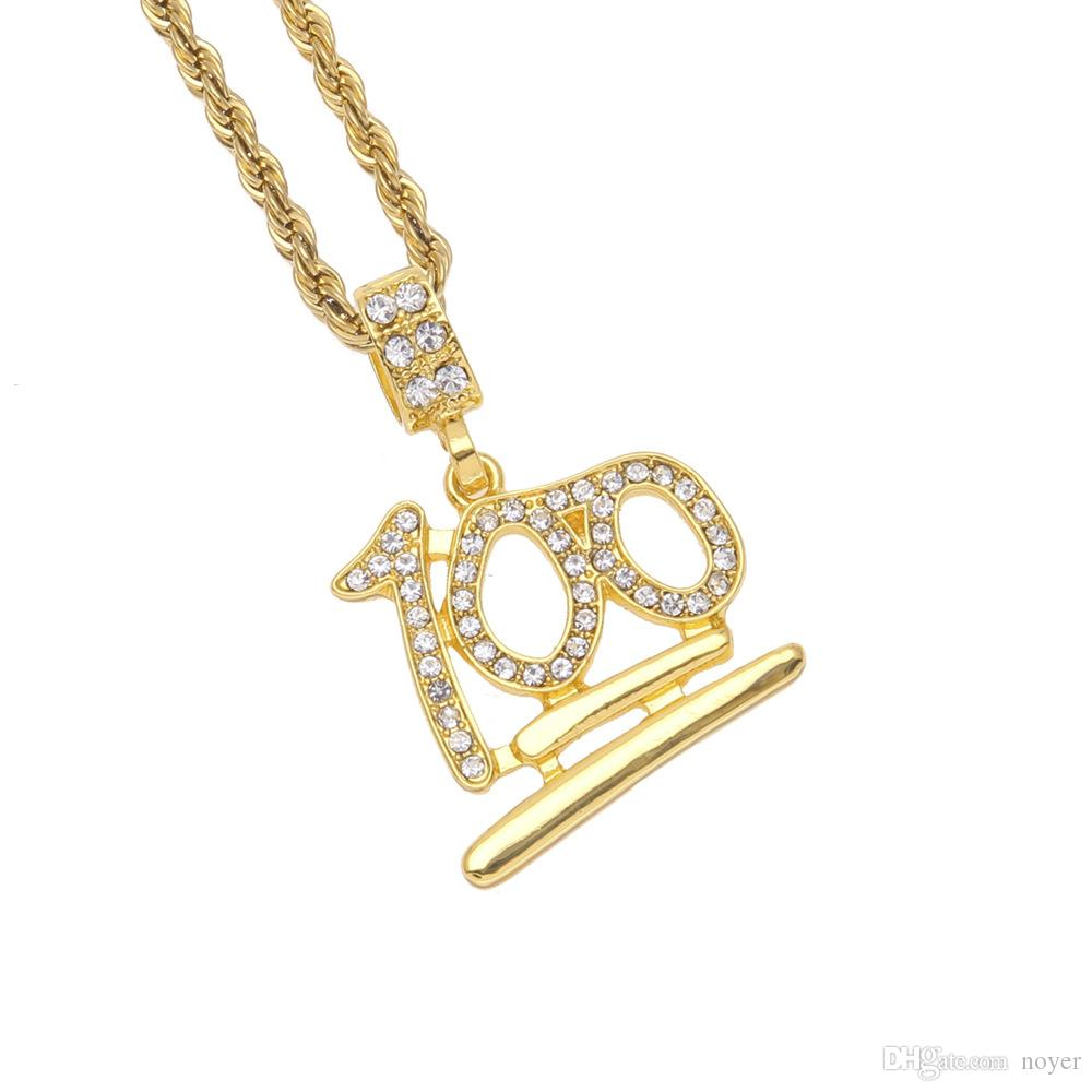 Mens hip hop jewelry rhinestone 100 points shape pendants European and American style crystal hiphop chain necklaces accessories