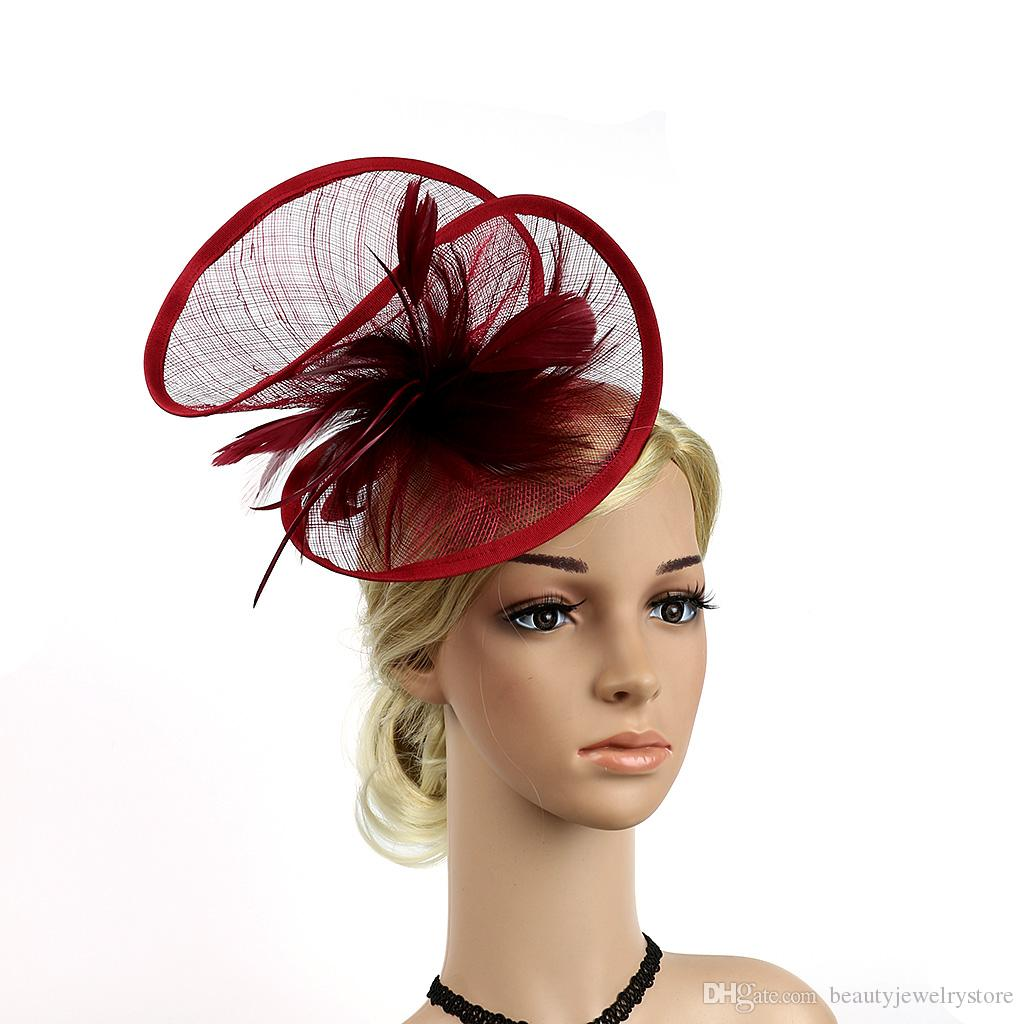 8a18b852 Fashionable Bridal Hats with Feathers High Quality Linen Women s Party Hair  Accessories with Headbands Elegant Hair Hats H04