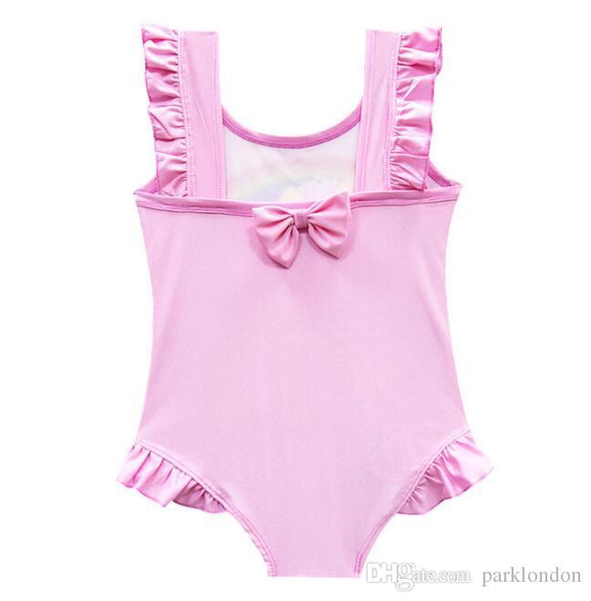 2018 6 design INS Unicorn Swimwear One Piece Bowknot Swimsuit Bikini Big Kids Summer Cartoon Infant Swim Bathing Suits Beachwear