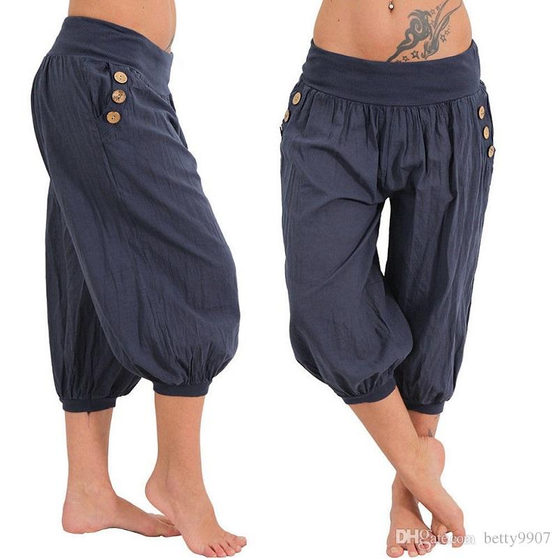 6a08587ad9c 2019 Aladdin S Casual Pants Capris Plus Size Women Clothes Loose Summer  Solid Low Waist Cotton Lightweight Casual Fat Short 5XL From Betty9907