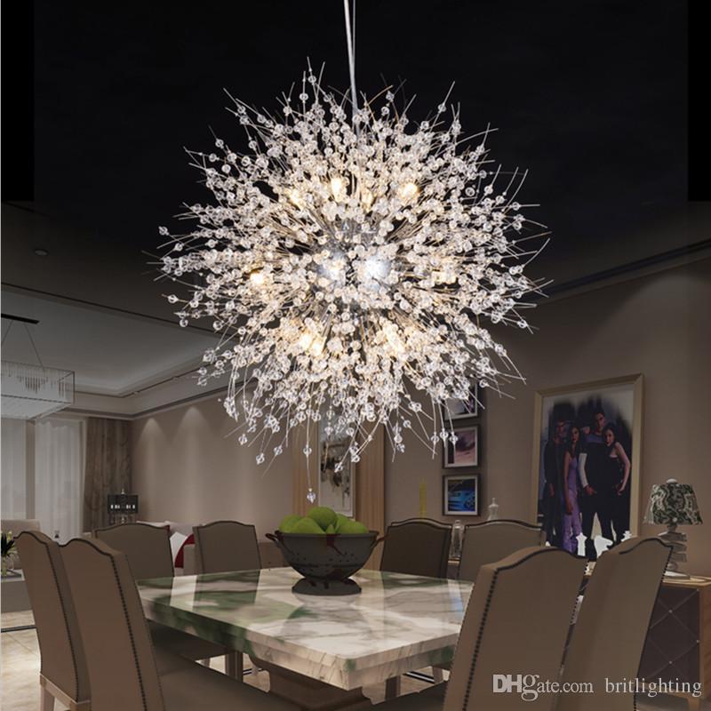 Modern Led Pendant Lights Living Room Round Crystal Lamp Bar Bedroom ...