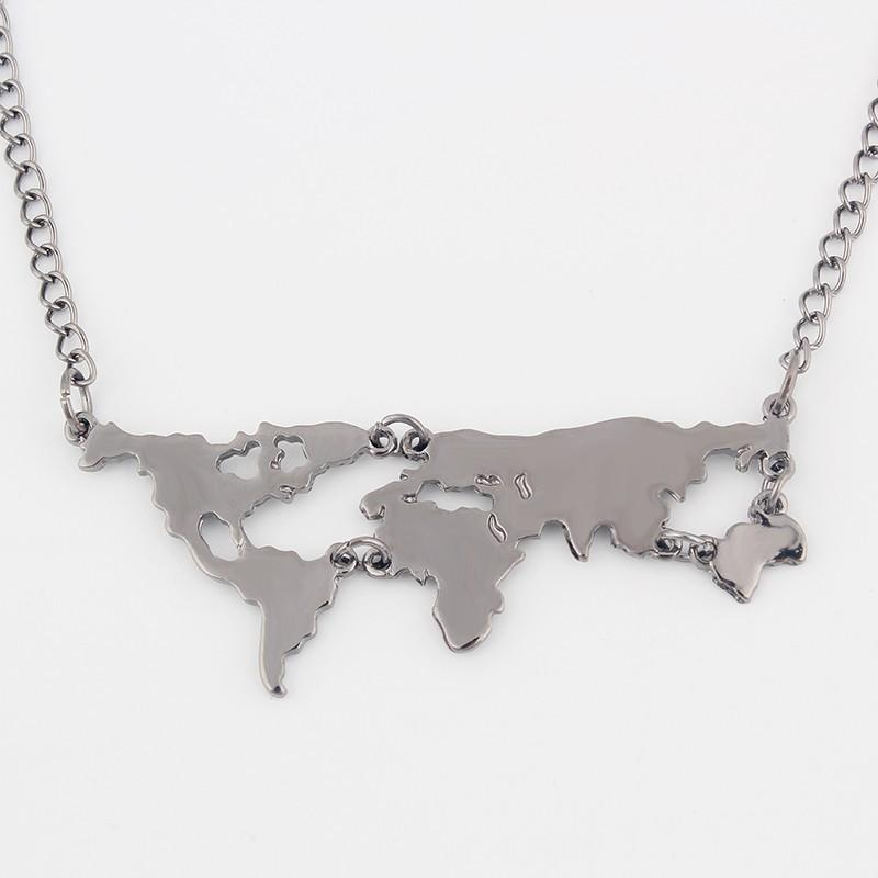 Gold Silver Black Men Women Globe World Map Pendant Necklace Personality Best Teacher Student Gifts Earth Jewelry