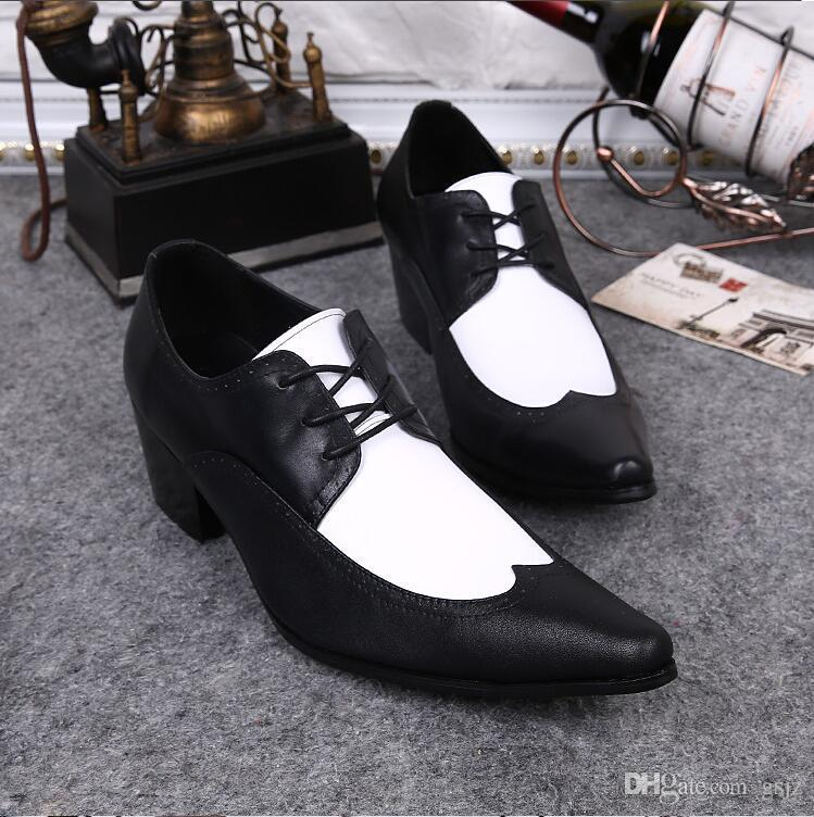 2018 New Style Fashion Italian Style Mens Pointed Toe Dress Shoes Genuine Leather High Heels Mens Brands Formal Busines Shoes S497