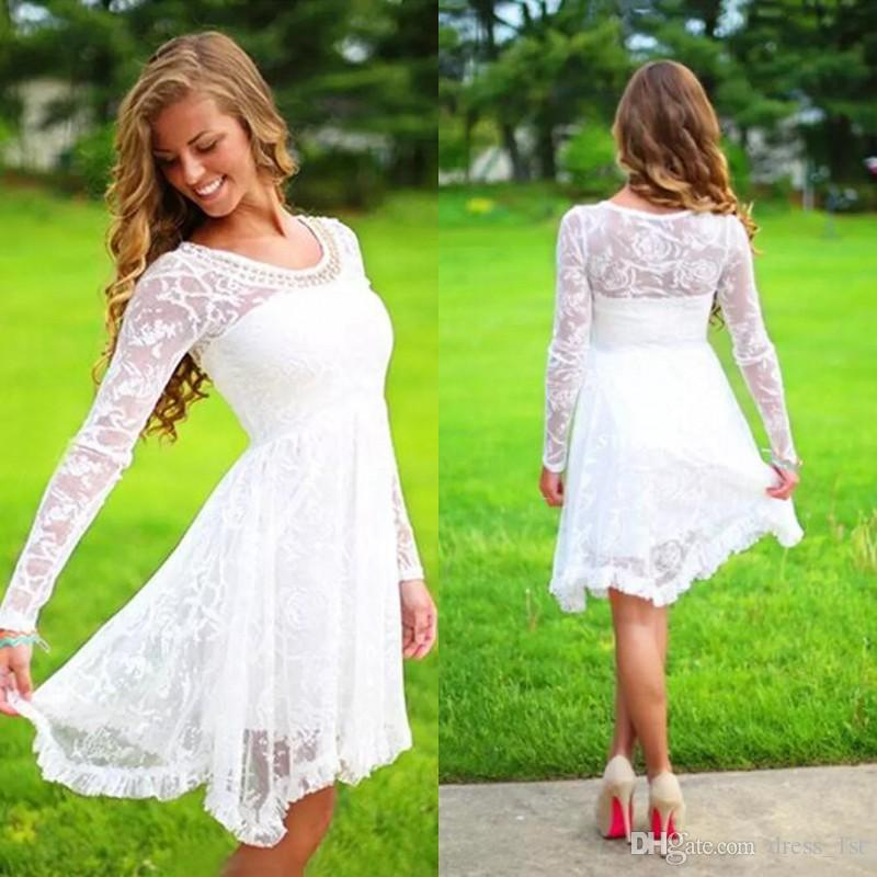 Beautiful Discount Short Casual Country Wedding Dresses With Long Sleeves Crystal  Neckline Knee Length Full Lace Wedding Gowns Short Beach Be Bridal Gowns  2017 ...