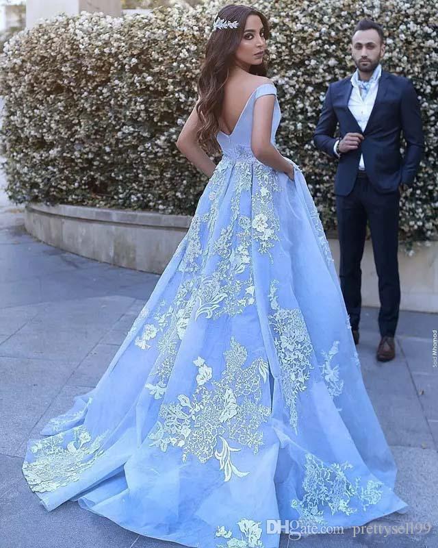 Пользовательские кружева аппликация бальное платье платья выпускного вечера 2018 с карманом Дубай арабский с плеча суд поезд вечерние платья