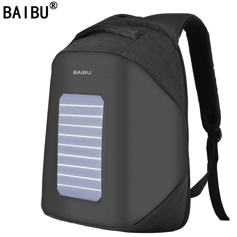 827987157c60 BAIBU Men Backpack 10W Solar Powered Designer Backpack Usb Charging  Anti-Theft 15.6 Laptop women Waterproof Bags