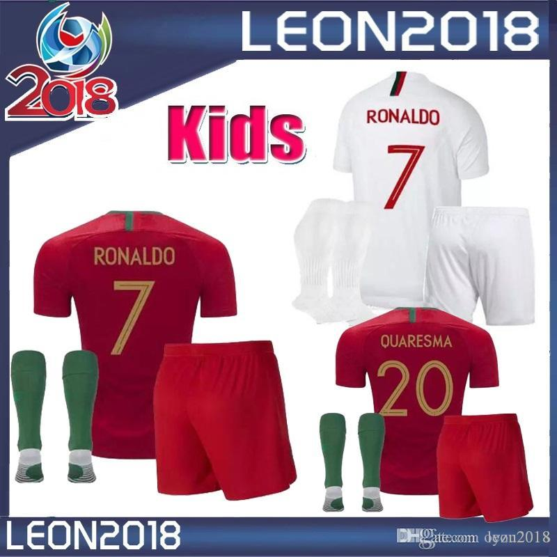 e5f0afc6872 ... nike portugal national  7 cristiano ronaldo second away soccer kids kits  2018 2019 ronaldo nani soccer jerseys quaresma 18