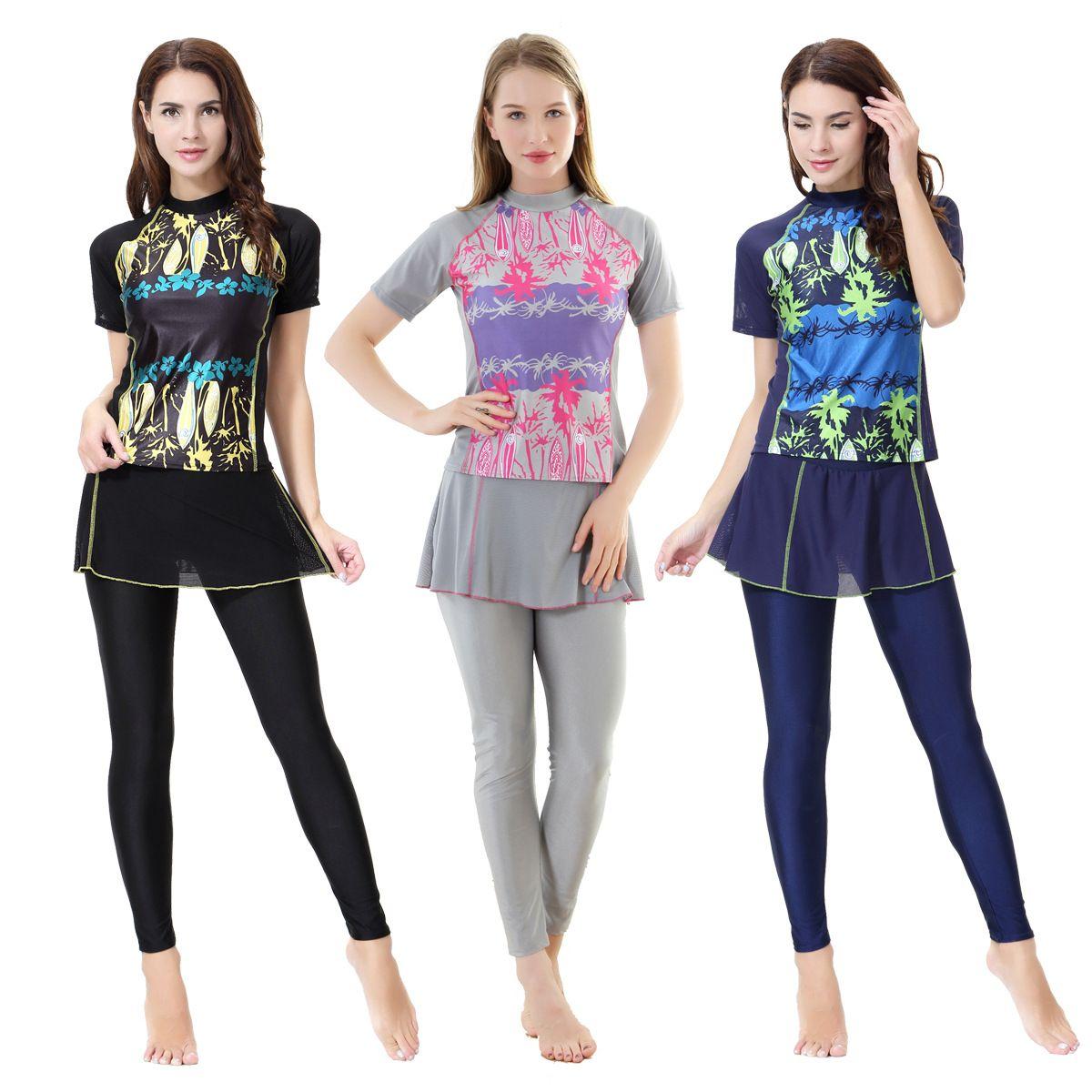 3fa6d56e01f 2019 Women S Muslim Swimwear Short Sleeve Skirt Printed Female Bathing Suit  Burkinis Two Piece Modest Swimsuit Women Lady Girl XX 390 From Alan706337