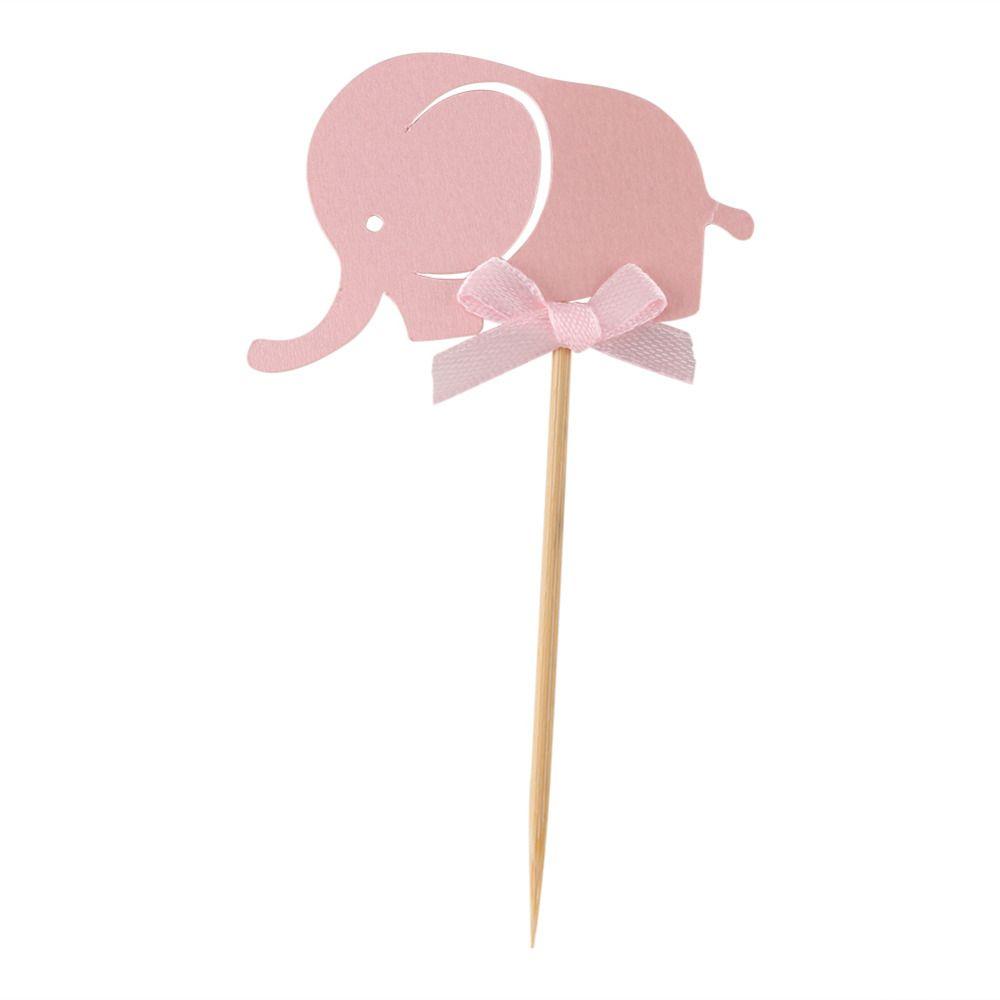/ Set Carte di carta elefante Cake Toppers Banner cupcake compleanno Tea Party Wedding Decor Baby Shower