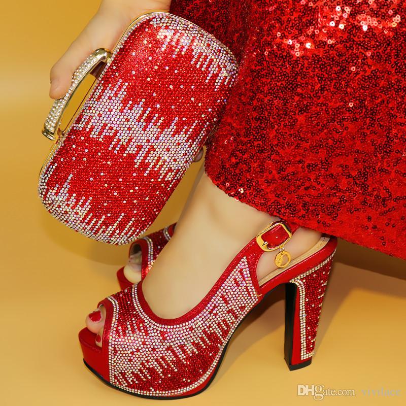 Vivilace Venda Quente Africano Pedrinhas sapatos e Sapatos de Cor vermelha Sapatos Italianos Com Sacos De Correspondência E Sapatos de Festa ME77