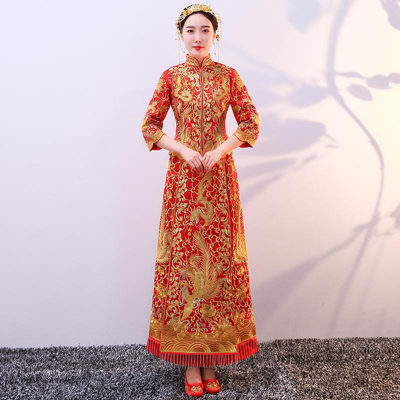 644119d13e9 MY923 Women s Red Chinese Wedding Dress Cheongsam Gold Slim Chinese  Traditional Dress Women Qipao for Wedding Party