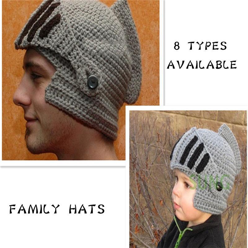 2019 Winter Hats For Family Novelty Roman Knight Helmet Caps