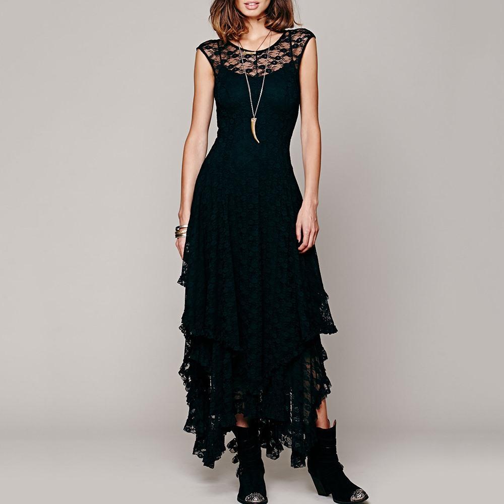 Compre Vestido Largo De Encaje Negro De Las Mujeres Góticas 2018 Nuevo  Volantes De Cuello Asimétrico Vestido Elegante De La Fiesta Elegante Del  Club De La ... eee41f012caf