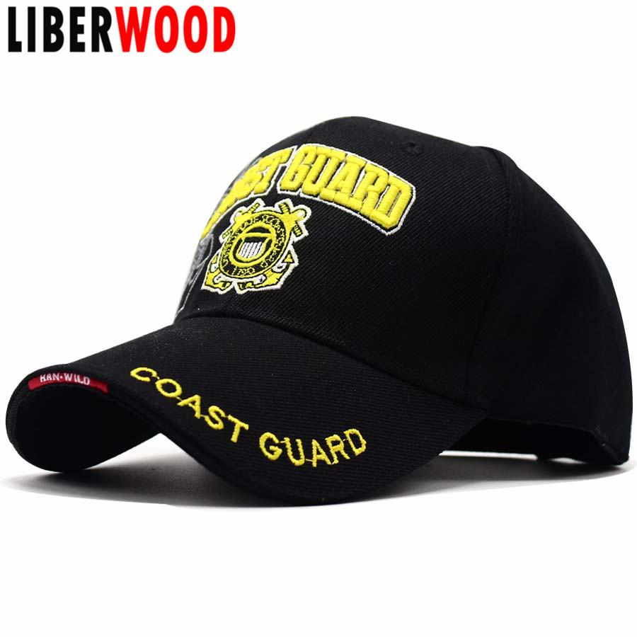 LIBERWOOD US Coast Guard USCG 3D Embroidered Baseball Cap United States  Coast Guard Men women Tactical Hats Cap Adjustable