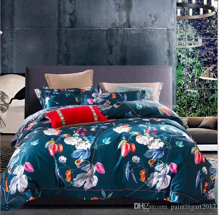 Winter Simple Ruffle Flounce Style Cotton a family of four bedding Set European high-grade Satin Thin 4 Duvet Cover Set