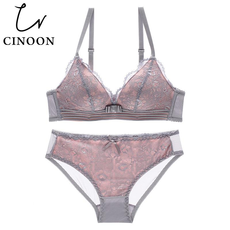 2a4101b9a6 CINOON NEW Sexy Intimates Bra Set Female Wire Free Underwear Lace ...
