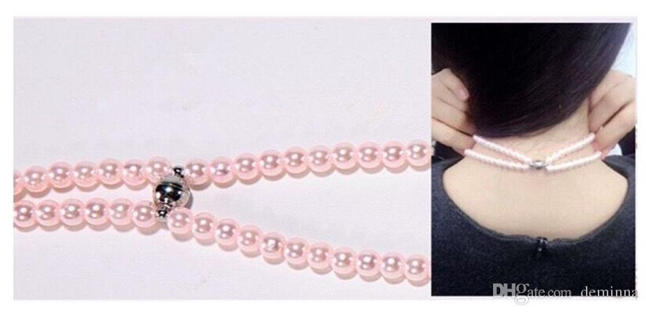 Joyas de diamantes de imitación de lujo collar de perlas auriculares con micrófono Pink Girl Earbuds auriculares para Iphone HuaWei XiaoMi mejor regalo