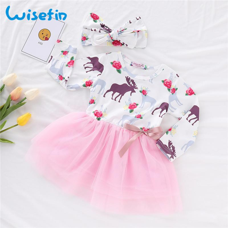 18d1e88331583 Wisefin Toddler Baby Skirt Set For Winter Floral Newborn Girl Outfits With  Headband Pink Tulle Infant Girl Clothing Long Sleeve
