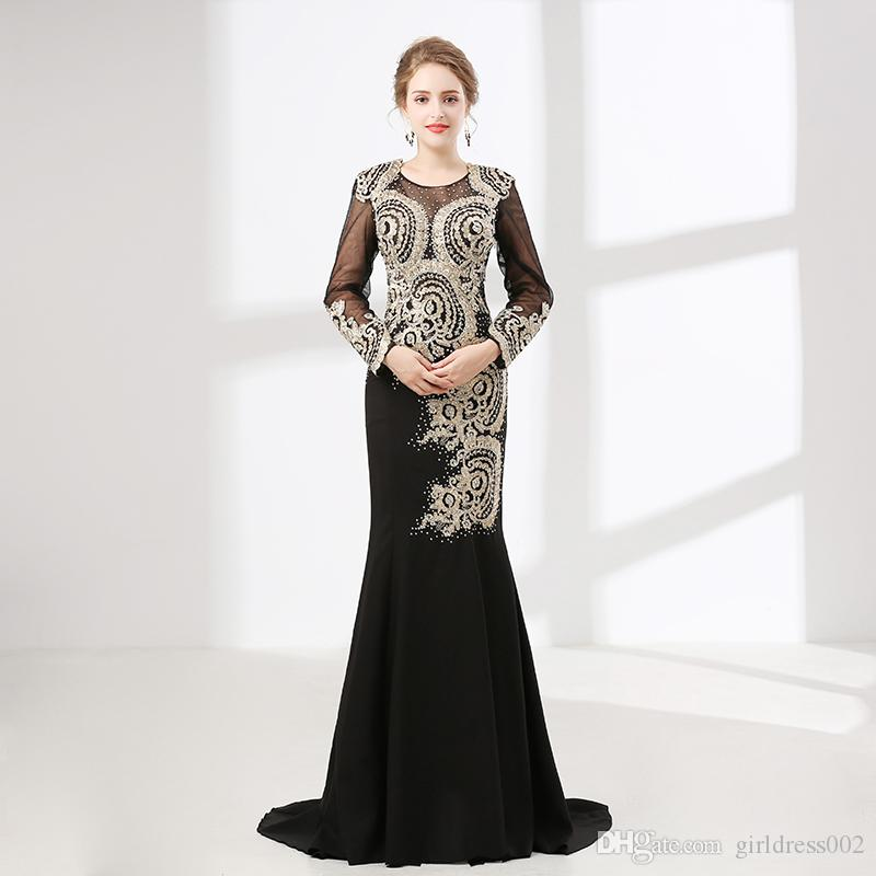 b95755b607 Black Sexy Mermaid Evening Dresses Long Sleeves Jersey Beaded Embroidery  African Women Formal Prom Evening Gown Robe De Soiree