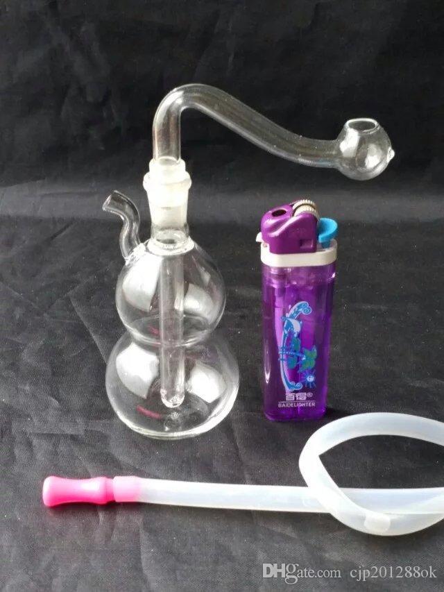 Petite gourde narguilé Gros bangs en verre Brûleur à mazout Tuyaux d'eau en verre Supports à l'huile Fumer sans