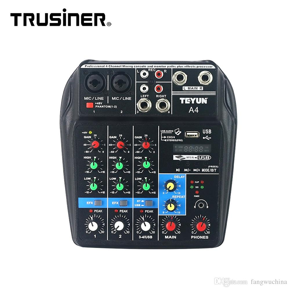 Hot Selling TEYUN A4 Portable Mini 4 Channels Digital Audio Interface Mixer Console with USB Bluetooth for Home Studio PC Computer Laptop