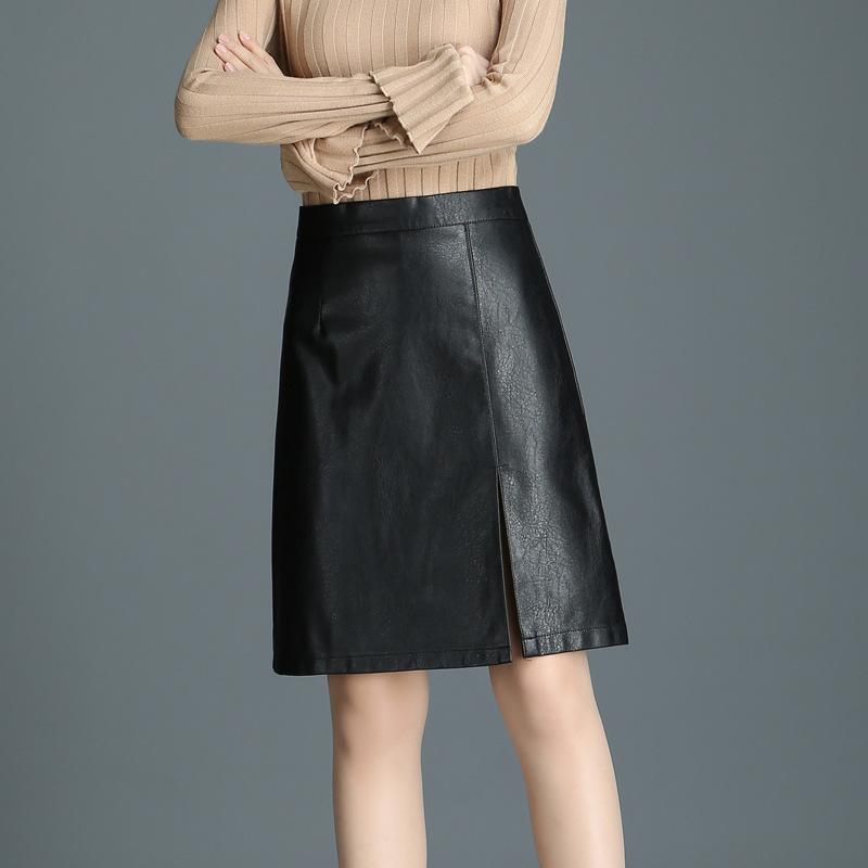 2019 Spring Women Black Leather Skirt 2018 Hot Sale High Waist A Line Short  Skirts Zipper PU Leather Female Package Hip Faldas Mujer From Yujiu c578bca7537e