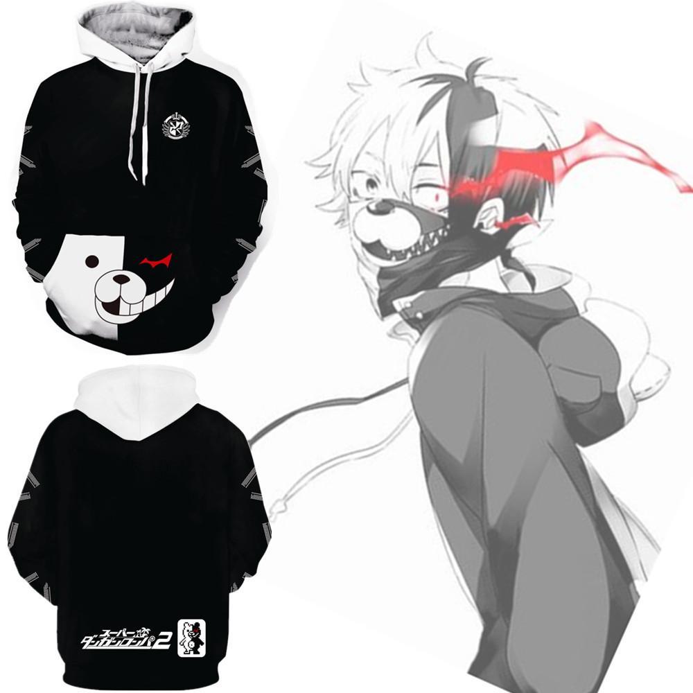 Asian size japan anime dangan ronpa monokuma bear cosplay costume 3d baseball coat unisex long sleeve hoodie temari cosplay easy anime cosplay from
