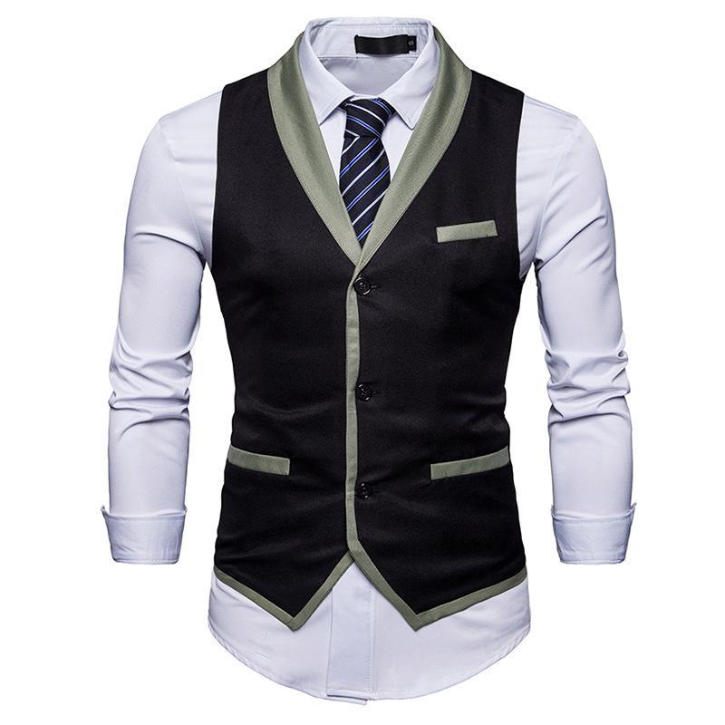 6a3fe6cd8d74d Acheter Vente En Gros Hommes De Marque De Mode Gilet Style Anglais Solide  Costume Croisé Pour Les Hommes D affaires Gilets De  32.87 Du Luzhenbao521  ...