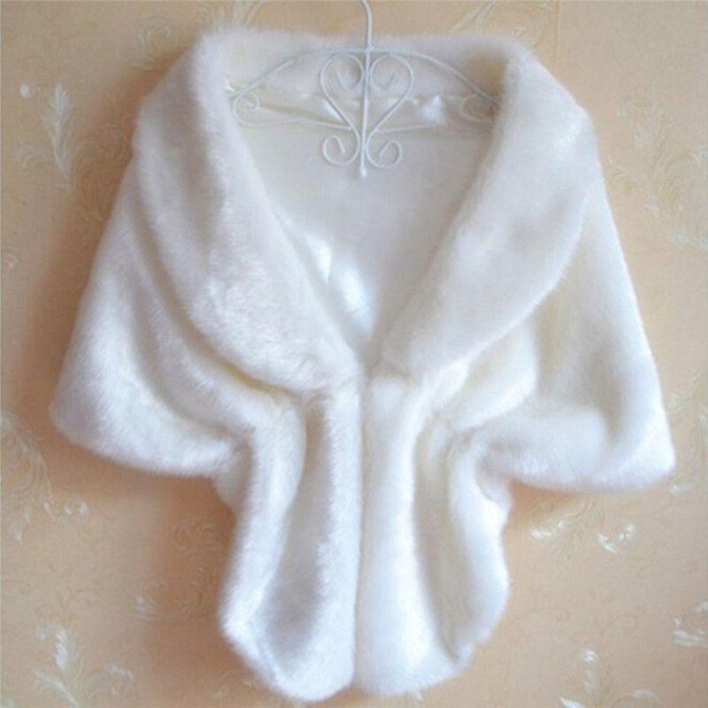 Mulheres Lady Plush Faux Fur Xaile Envoltório Nupcial Do Casamento Jaqueta Gilet Roubou Colete Bolero Shrug Cape Preto Branco marrom