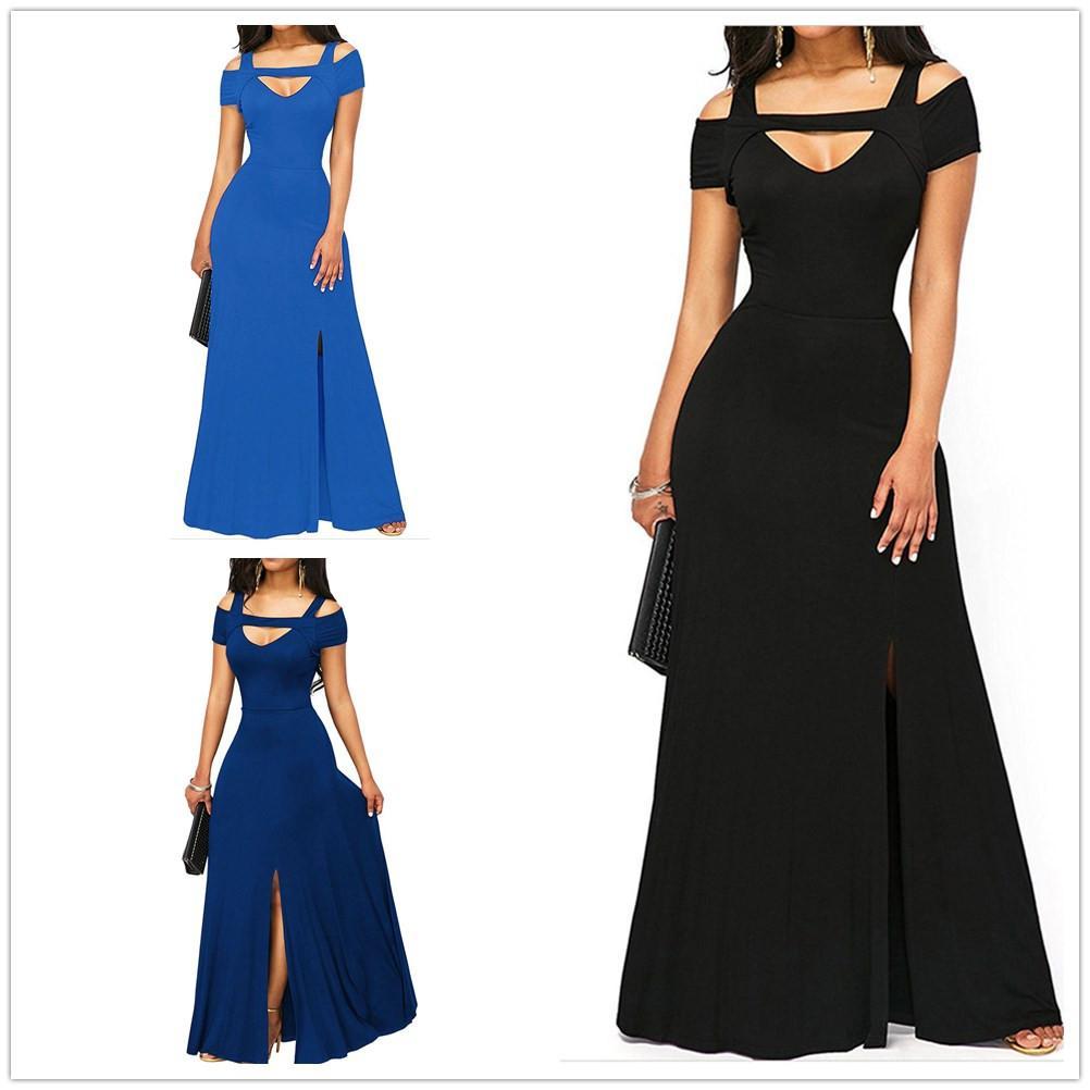 fb59c191c0bf9 2018 Autumn Womens Dresses Royal Blue Cold Shoulder Front Slit Flare Maxi  Long Dress Vestido Festa Evening Party Dress Size S XL Cocktail Dress  Brands ...