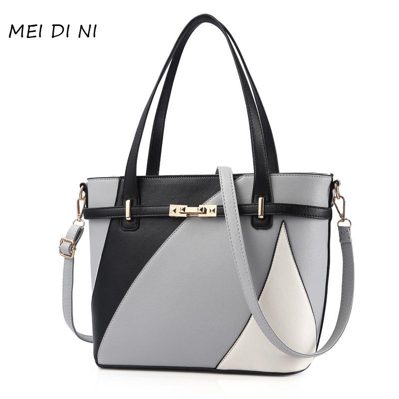 2f77bd72df07 MEI DI NI Women Leather Handbags Shoulder Bag Women s Casual Tote Bag  Female Patchwork Handbags Sac a Main Ladies Hand Bags Shoulder Bags Cheap  Shoulder ...