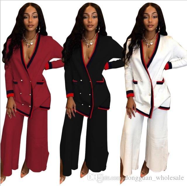 Hosenanzug Afrikanische Dame Blau Afrika Frauen Outfit Lässig Damen Tops Langarm Rosa Anzug Kleidung 2019 Schwarz Hose 4Lc5qRj3AS