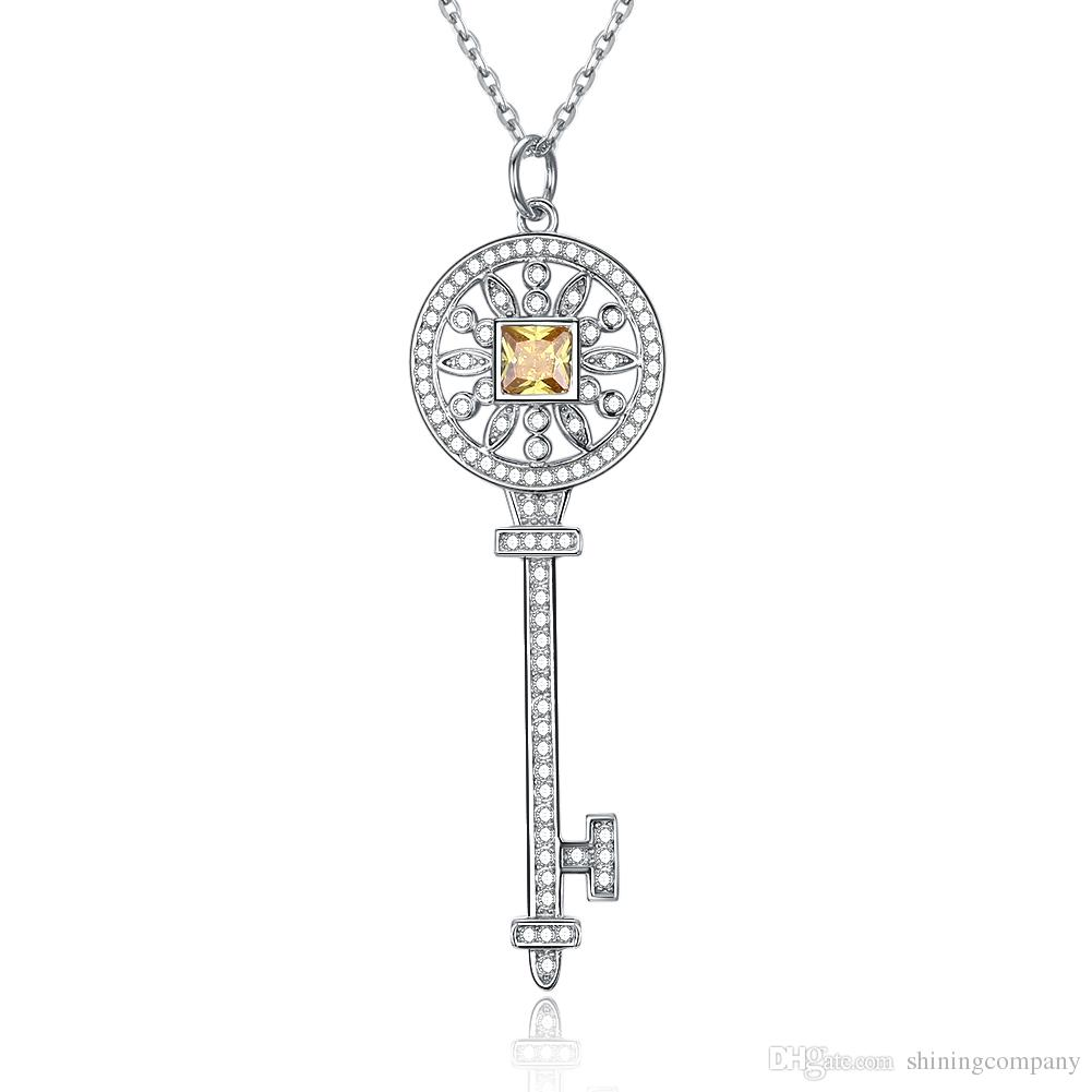 b9d284618721c S925 Sterling Silver Keys Petals Key Pendant Necklace with White & Yellow  Diamonds 100% 925 Silver Necklaces Best Valentines gift for women