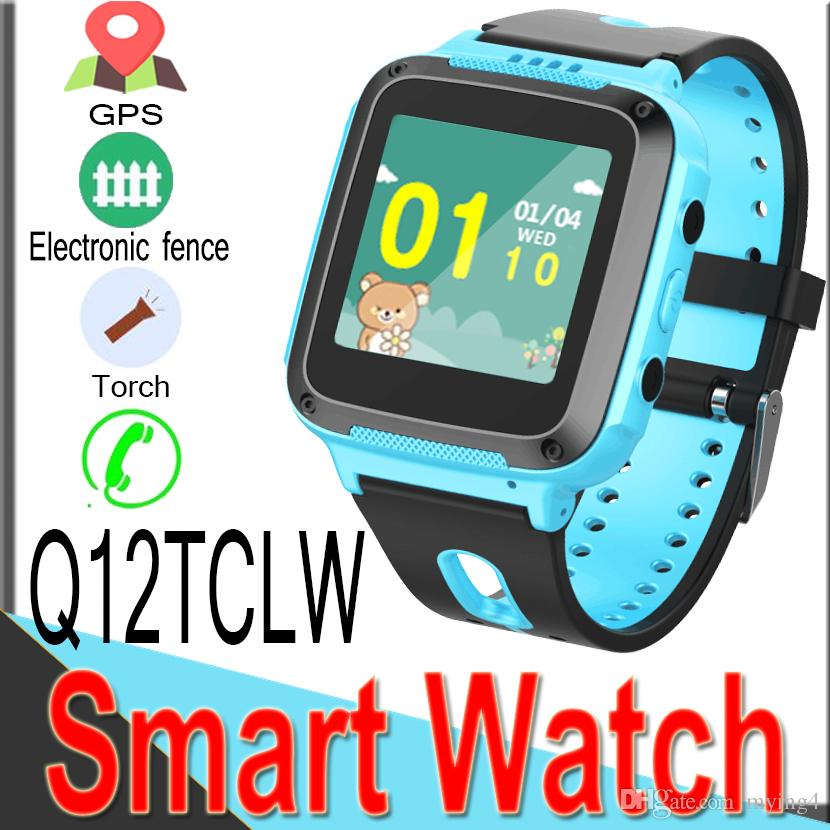 Q12TCLW Kids GPS LBS Tracker Safe Smart Watch Location SOS SIM Call Kids Digital Watch Two-way Torch for IOS Android Q50 Smart Watches XQ12