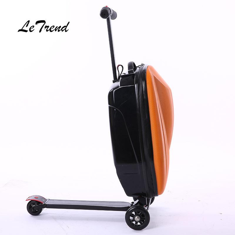 LeTtrend Micro Scooter Skateboard Rolling Luggage Fashion Trolley Business  Cabin Suitcase Wheels Travel Duffle Men Carry On Bag Leather Suitcases Kid  ... 251c38b0c3677