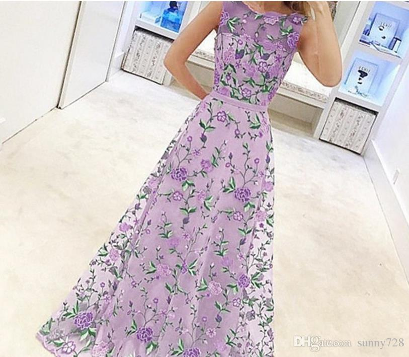 Stunning Embroidery Flowers Evening Dresses 2018 Hot Sales A Line Scoop Neck Sleeveless Fashion Prom Dress for Party Plus size 3XL
