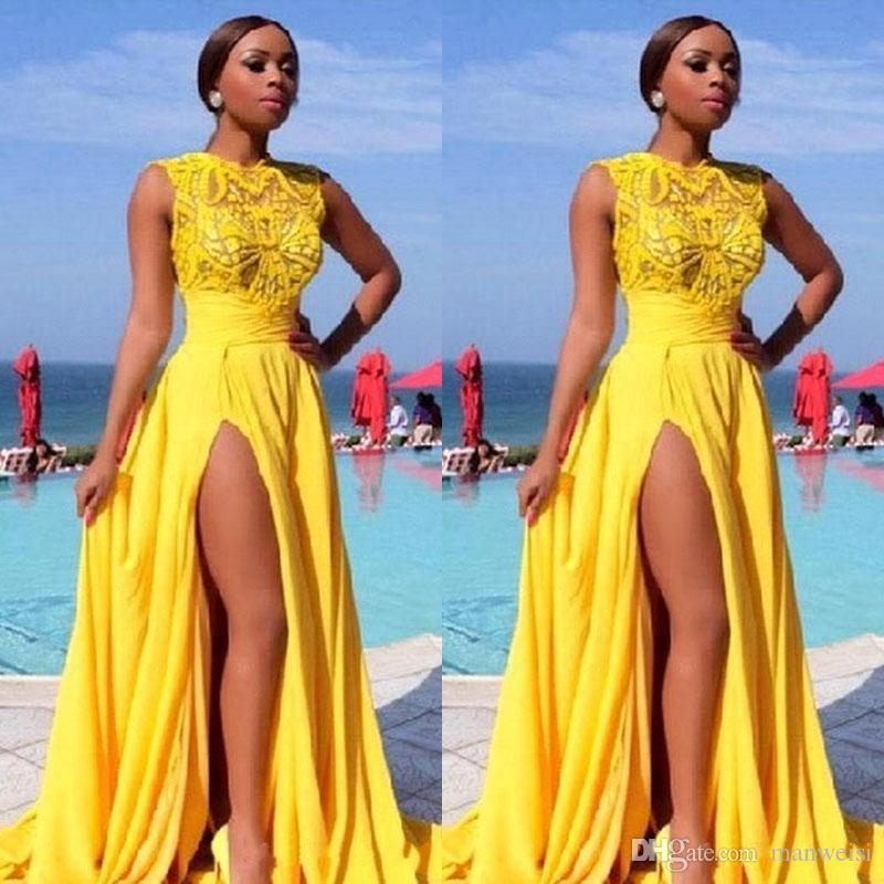 191614c723 Bright Yellow Prom Dresses Side Split Chiffon Lace Appliques Dubai Evening  Gowns 2018 Sheer Sexy Cheap Party Dress Proms Dresses Retro Prom Dresses  From ...