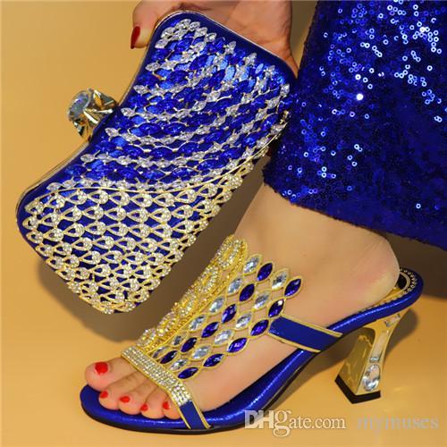 1c6022dbea Großhandel Royal Blue Farbe Schuh Und Tasche Set New 2018 Damen Schuhe Und  Tasche Set Afrikanische Hochzeit Sandalen Italienische Schuhe Mit Passenden  ...