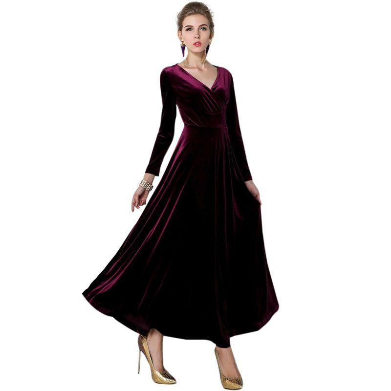 Hot 2017 Women Winter Vintage Dress Long Sleeve Velvet Dress V Neck Dresses  Female Sexy Long Dress Vestidos Plus Sizi S 3XL Long Evening Dresses Velvet  ... ebc13a4b954e