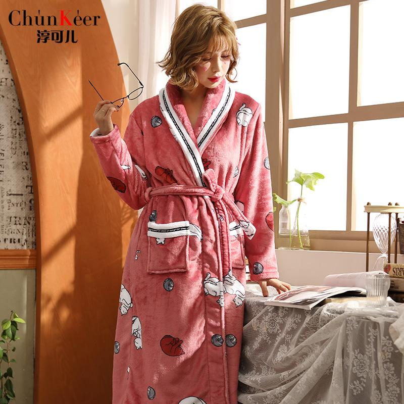Ladies Long Bathrobe Women Flannel Robe Long Design Flannel Bathrobe Female  Robe Nightgown Coral Fleece Sleepwear UK 2019 From Macloth 270905738c