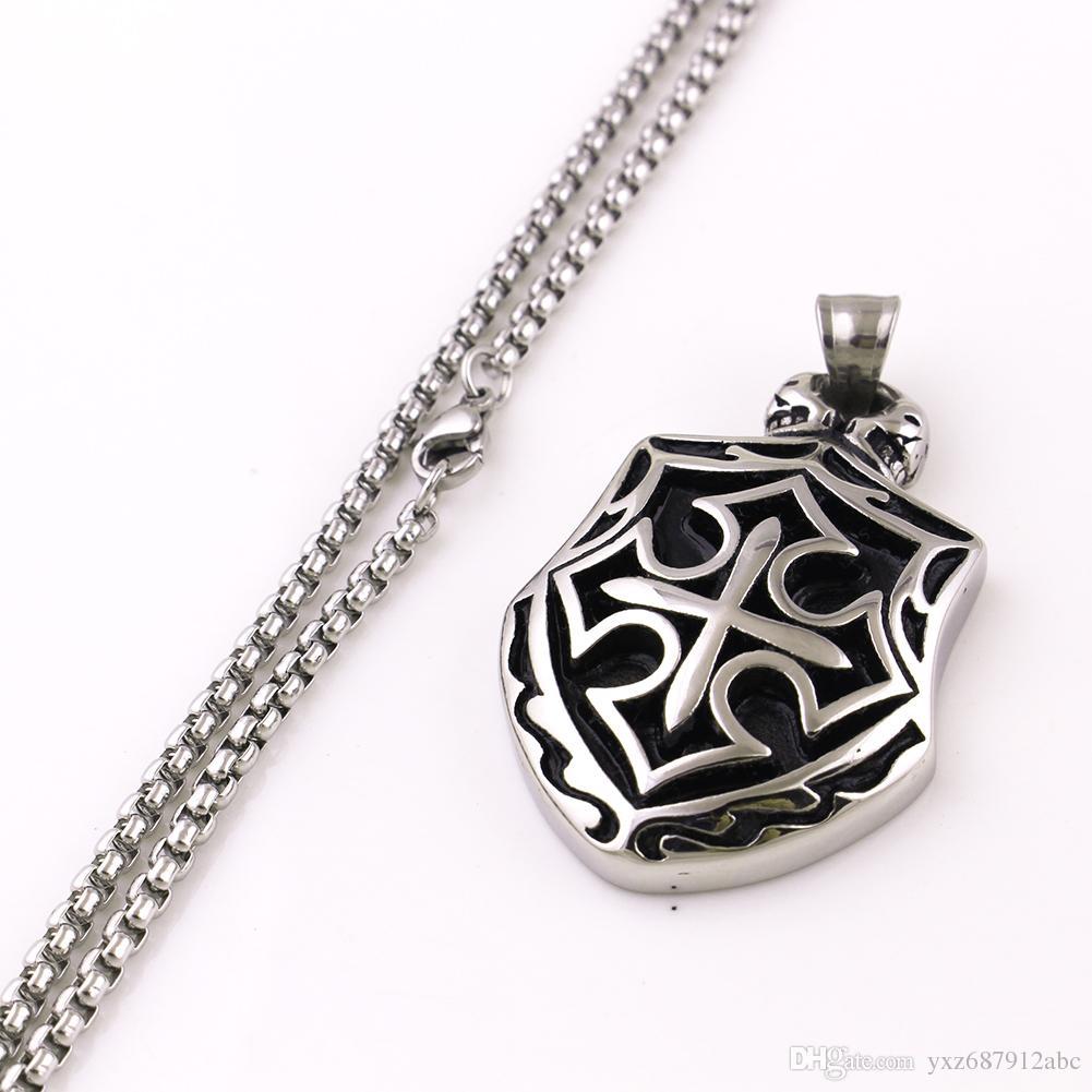 0aa0b6dfde1 Punk Men's Vintage Saint Cross Shield Retro Skull Charm Pendant Necklace  Stainless Steel Box Chain Jewelry Gift