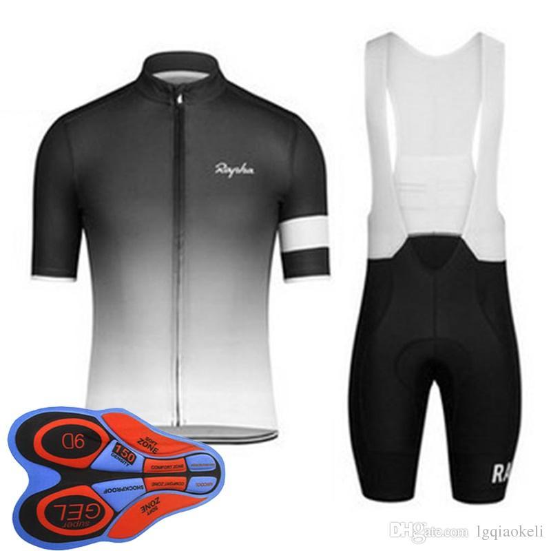 2018 Rapha new summer mountain bike short-sleeved cycling jersey kit quick-dry men and riding shirts bib shorts set 9D gel pad D1795