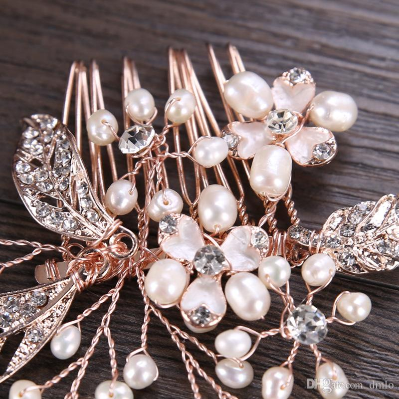 Bridal Wedding Hair Combs Crystal Rhinestone Bridal Hair Comb Flowers Bridal Headpiece European Wedding Headdress Hair Jewelry Accessories