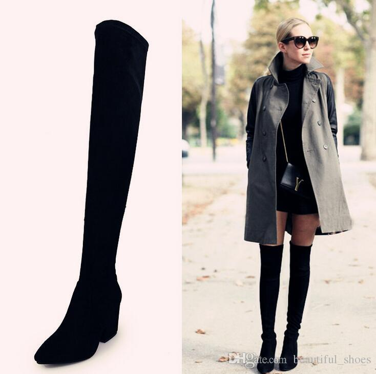 171d05b92ada Winter Hot Over The Knee Boots Women S Thick High Heeled Boots Fashion Back  Zipper Black Plus Velvet High Boots Women S Party Wild Sexy Mens Boots Thigh  ...