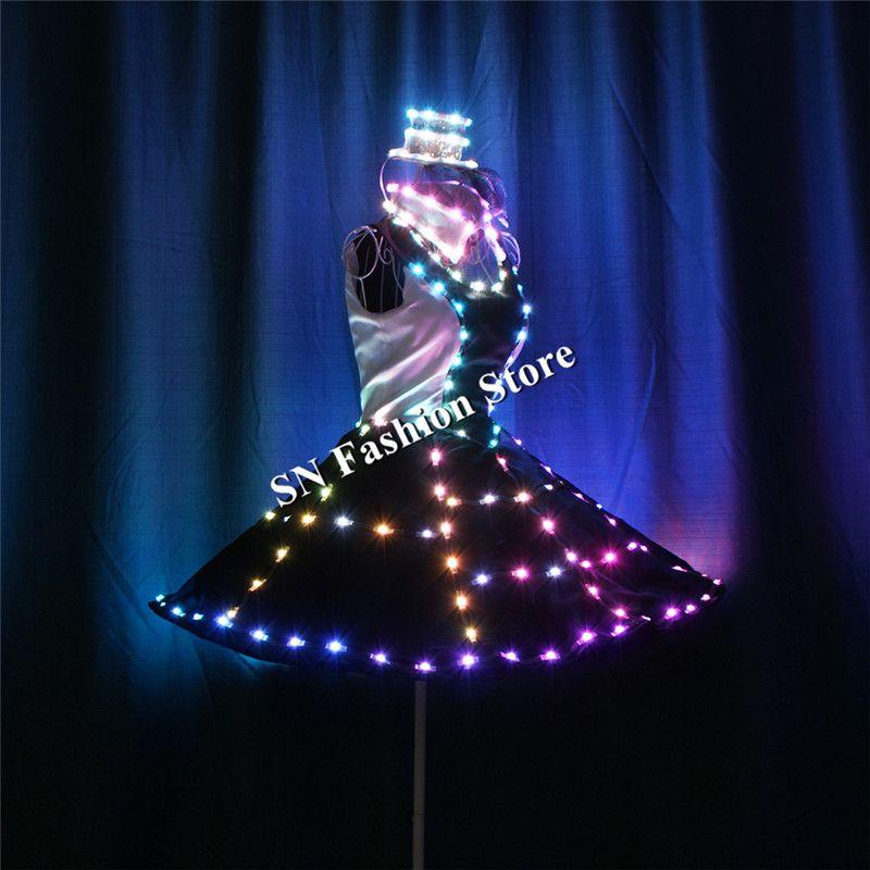 TC-181 Programmable luminous led light dance clothes ballroom led costumes glowing RGB stage dresses lighting hat ballet skirt performance