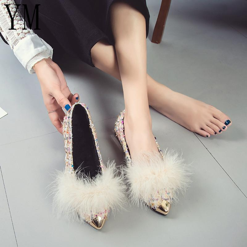 99f4d2071 Shallow Winter Fur Flats Lady Feather Fabric Moccasins Rabbit Hair Shoes  Woman Creepers Metal Pointed Toe Ladies Shoes Loafer V2 Online with  $32.56/Pair on ...