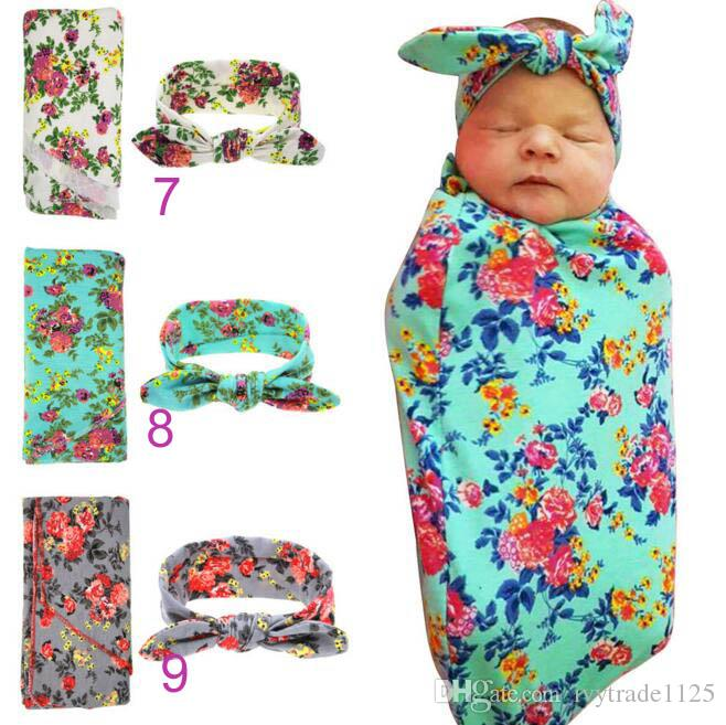 15 styles Kids Muslin Swaddles Ins Wraps Blankets Nursery Bedding Newborn Organic Cotton Ins Floral Print Swaddle + Headband two piece sets