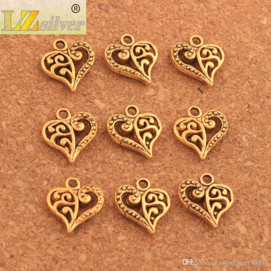 200 pçs / lote padrão de flor encantos do coração de prata antigo / ouro / bronze pingentes jóias diy fit pulseiras colar brincos l919